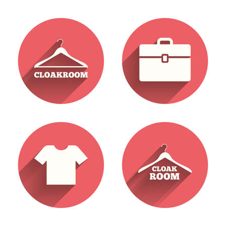 cloakroom: Cloakroom icons. Hanger wardrobe signs. T-shirt clothes and baggage symbols. Pink circles flat buttons with shadow. Vector