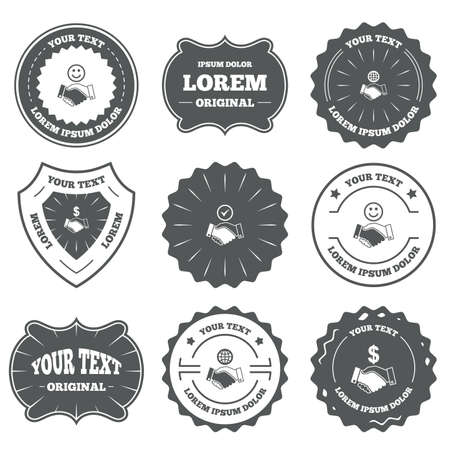 amicable: Vintage emblems, labels. Handshake icons. World, Smile happy face and house building symbol. Dollar cash money. Amicable agreement. Design elements. Vector Illustration