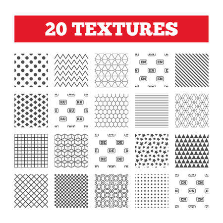 en: Seamless patterns. Endless textures. Language icons. EN, DE, RU and CN translation symbols. English, German, Russian and Chinese languages. Geometric tiles, rhombus. Vector