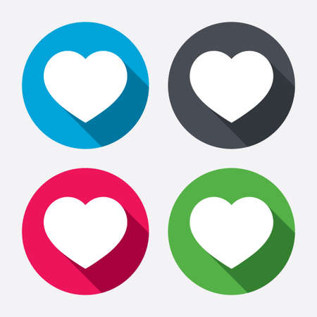 heart attack: Love icon. Heart sign symbol. Circle buttons with long shadow. Vector Illustration