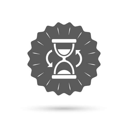 sand timer: Vintage emblem medal. Hourglass sign icon. Sand timer symbol. Classic flat icon. Vector