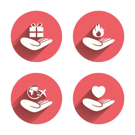 protection incendie: Helping hands icons. Health and travel trip insurance symbols. Gift present box sign. Fire protection. Pink circles flat buttons with shadow. Vector