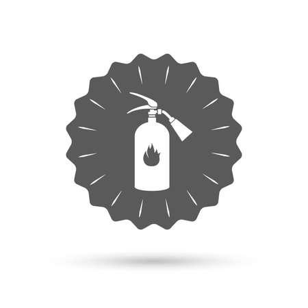 fire extinguisher sign: Vintage emblem medal. Fire extinguisher sign icon. Fire safety symbol. Classic flat icon. Vector
