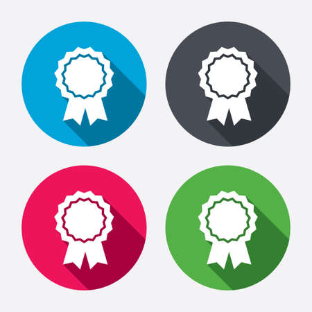 icon buttons: Award medal icon. Best guarantee symbol. Winner achievement sign. Circle buttons with long shadow. Vector Illustration