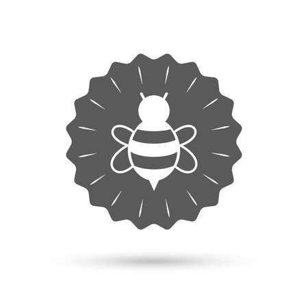 apis: Vintage emblem medal. Bee sign icon. Honeybee or apis with wings symbol. Flying insect. Classic flat icon. Vector