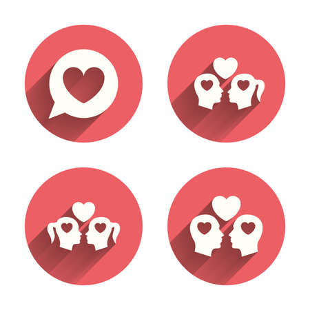 nude lesbian: Couple love icon. Lesbian and Gay lovers signs. Romantic homosexual relationships. Speech bubble with heart symbol. Pink circles flat buttons with shadow. Vector