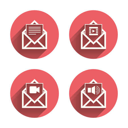 voice mail: Mail envelope icons. Message document symbols. Video and Audio voice message signs. Pink circles flat buttons with shadow. Vector