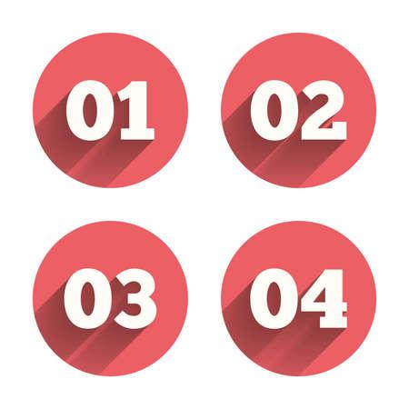 numero uno: Paso uno, dos, tres y cuatro iconos. Secuencia de Opciones símbolos. Signos proceso de carga. Círculos rosados ??botones planos con sombra. Vector