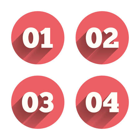 one by one: Step one, two, three and four icons. Sequence of options symbols. Loading process signs. Pink circles flat buttons with shadow. Vector