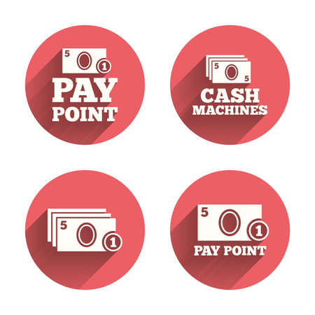 withdrawals: Cash and coin icons. Cash machines or ATM signs. Pay point or Withdrawal symbols. Pink circles flat buttons with shadow. Vector