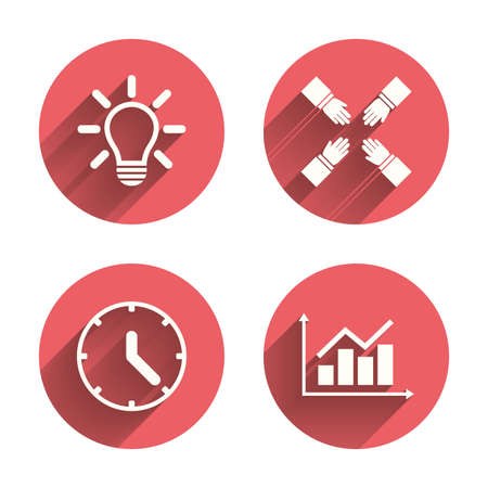 pink lamp: Lamp idea and clock time icons. Graph chart diagram sign. Teamwork symbol. Pink circles flat buttons with shadow. Vector