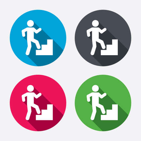 corporate people: Upstairs icon. Human walking on ladder sign. Circle buttons with long shadow. Vector