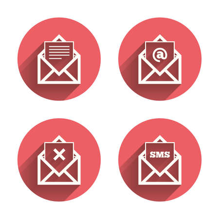 post office: Mail envelope icons. Message document symbols. Post office letter signs. Delete mail and SMS message. Pink circles flat buttons with shadow. Vector