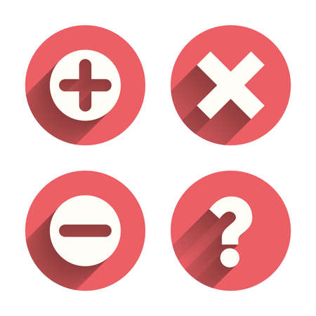 enlarge: Plus and minus icons. Delete and question FAQ mark signs. Enlarge zoom symbol. Pink circles flat buttons with shadow. Vector