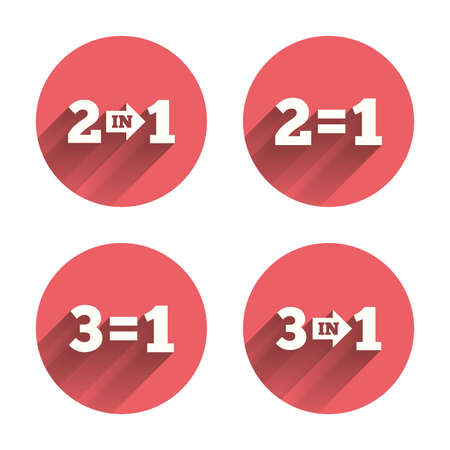 equals: Special offer icons. Take two pay for one sign symbols. Profit at saving. Pink circles flat buttons with shadow. Vector