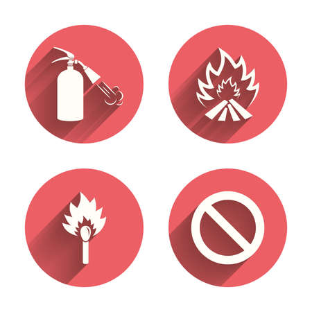 fire extinguisher sign: Fire flame icons. Fire extinguisher sign. Prohibition stop symbol. Burning matchstick. Pink circles flat buttons with shadow. Vector