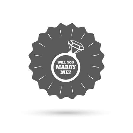 will you marry me: Vintage emblem medal. Will you marry me ring sign icon. Engagement symbol. Classic flat icon. Vector