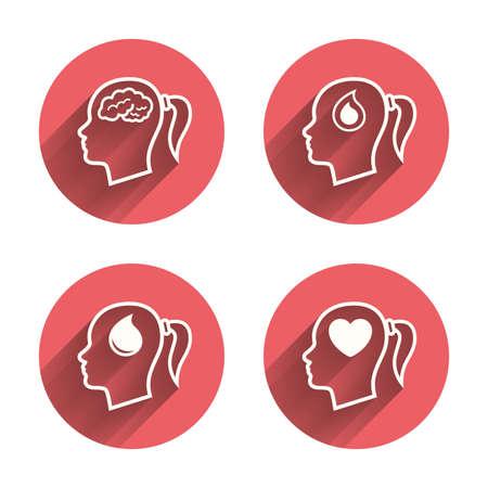 cola mujer: Cabeza con el icono del cerebro. mujer femenina pensar símbolos. signos de donación gota de sangre. Amor corazon. círculos rosados ??botones planos con la sombra. Vector Vectores
