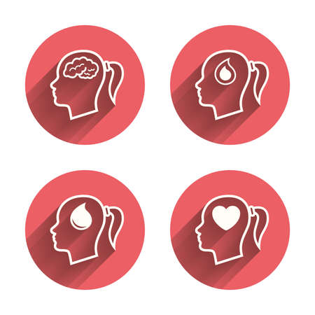 woman think: Head with brain icon. Female woman think symbols. Blood drop donation signs. Love heart. Pink circles flat buttons with shadow. Vector Illustration