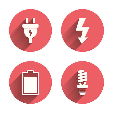pink lamp: Electric plug icon. Fluorescent lamp and battery symbols. Low electricity and idea signs. Pink circles flat buttons with shadow. Vector