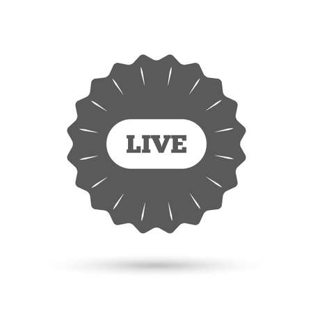 live on air: Vintage emblem medal. Live sign icon. On air stream symbol. Classic flat icon. Vector Illustration