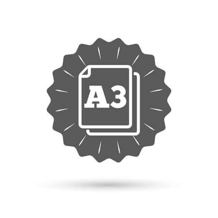 a3: Vintage emblem medal. Paper size A3 standard icon. File document symbol. Classic flat icon. Vector