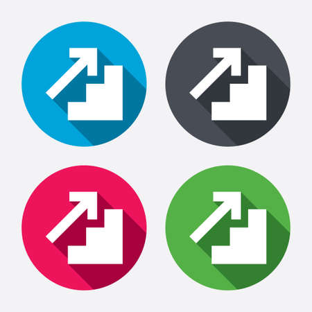 upstairs: Upstairs icon. Up arrow sign. Circle buttons with long shadow. Vector