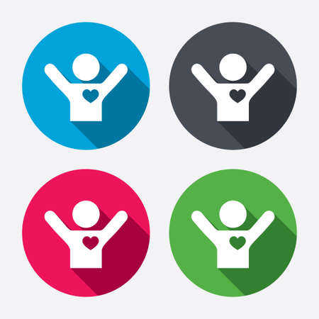 Fans love icon. Man raised hands up sign. Circle buttons with long shadow. Vector Vektorové ilustrace