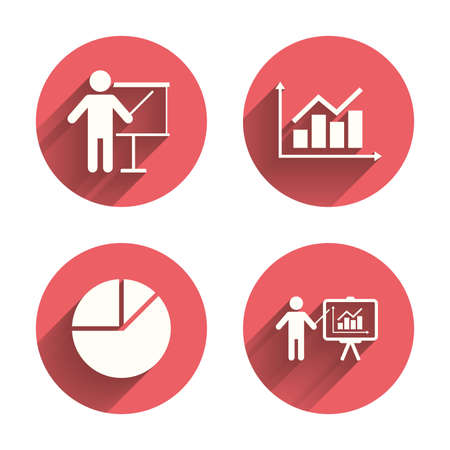 demand: Diagram graph Pie chart icon. Presentation billboard symbol. Supply and demand. Man standing with pointer. Pink circles flat buttons with shadow. Vector