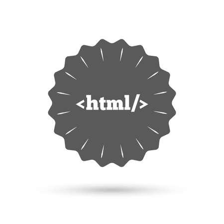 markup: Vintage emblem medal. HTML sign icon. Markup language symbol. Classic flat icon. Vector Illustration