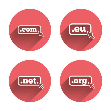 dns: Top-level internet domain icons. Com, Eu, Net and Org symbols with cursor pointer. Unique DNS names. Pink circles flat buttons with shadow. Vector Illustration