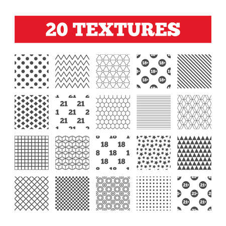 pornography: Seamless patterns. Endless textures. Adult content icons. Eighteen and twenty-one plus years sign symbols. Geometric tiles, rhombus. Vector