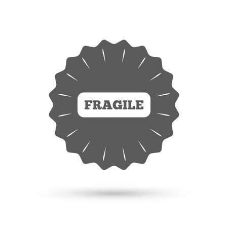 frail: Vintage emblem medal. Fragile parcel sign icon. Delicate package delivery symbol. Classic flat icon. Vector