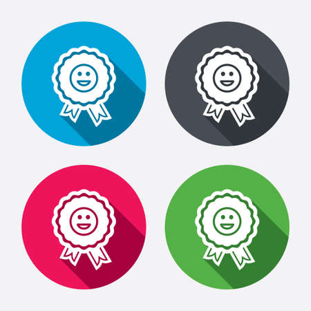 icon buttons: Award smile icon. Happy face medal symbol. Circle buttons with long shadow. Vector