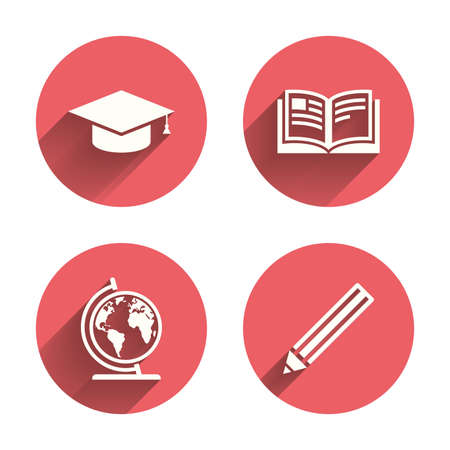 pink cap: Pencil and open book icons. Graduation cap and geography globe symbols. Education learn signs. Pink circles flat buttons with shadow. Vector