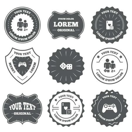 gamer: Vintage emblems, labels. Gamer icons. Board games players signs. Video game joystick symbol. Casino playing card. Design elements. Vector Illustration