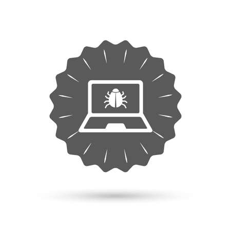 ultrabook: Vintage emblem medal. Laptop virus sign icon. Notebook software bug symbol. Classic flat icon. Vector