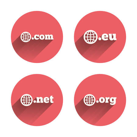 dns: Top-level internet domain icons. Com, Eu, Net and Org symbols with globe. Unique DNS names. Pink circles flat buttons with shadow. Vector