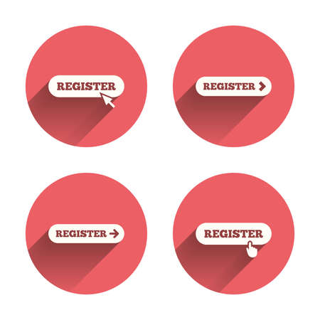 navigation buttons: Register with hand pointer icon. Mouse cursor symbol. Membership sign. Pink circles flat buttons with shadow. Vector