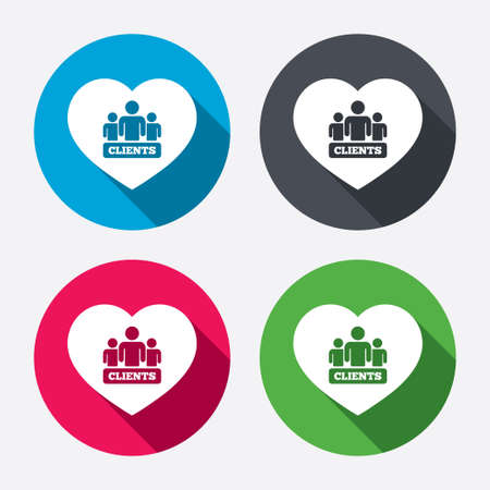 shadow people: Love Clients sign icon. Group of people symbol. Circle buttons with long shadow. Vector Illustration