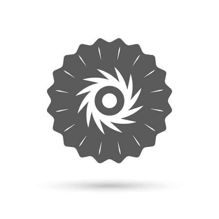 cutting blade: Medalla de Emblema de la vendimia. Sierra circular icono de signo de la rueda. Cortar s�mbolo cuchilla. Icono plana Classic. Vector