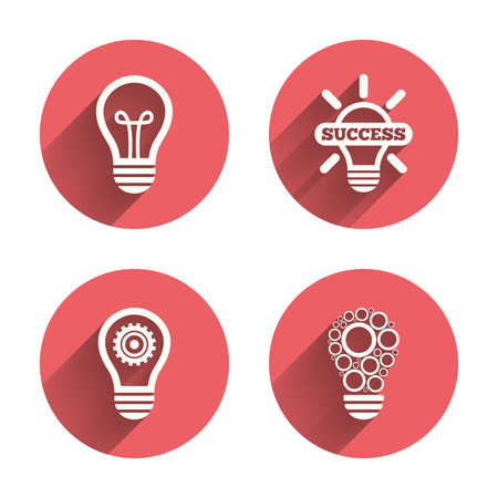 pink lamp: Light lamp icons. Circles lamp bulb symbols. Energy saving with cogwheel gear. Idea and success sign. Pink circles flat buttons with shadow. Vector Illustration