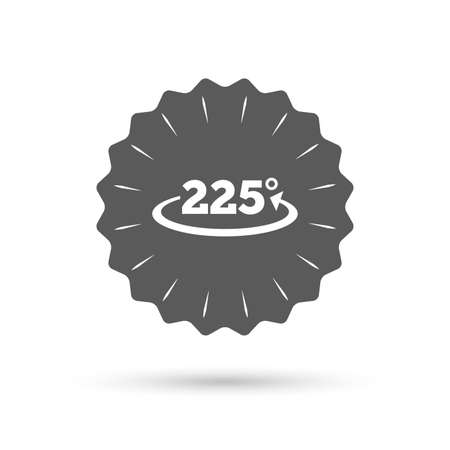 math icon: Vintage emblem medal. Angle 225 degrees sign icon. Geometry math symbol. Classic flat icon. Vector