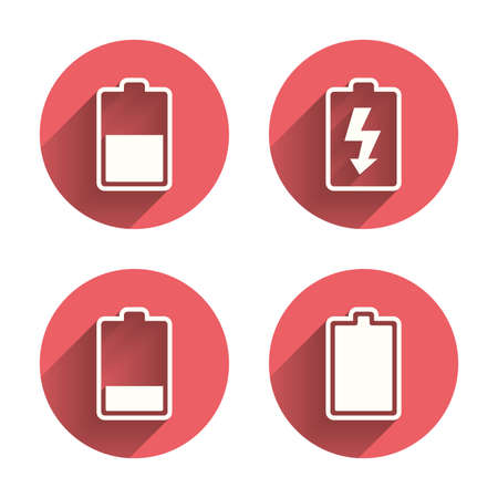 half full: Battery charging icons. Electricity signs symbols. Charge levels: full, half and low. Pink circles flat buttons with shadow. Vector