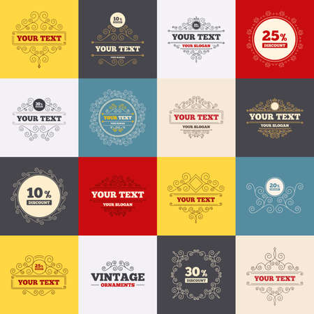 Vintage frames, labels. Sale discount icons. Special offer price signs. 10, 20, 25 and 30 percent off reduction symbols. Scroll elements. Vector Çizim
