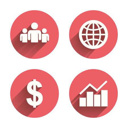 shadow people: Business icons. Graph chart and globe signs. Dollar currency and group of people symbols. Pink circles flat buttons with shadow. Vector