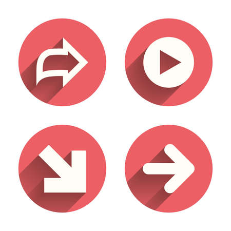 Arrow icons. Next navigation arrowhead signs. Direction symbols. Pink circles flat buttons with shadow. Vector Ilustração