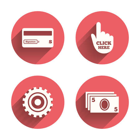 withdrawals: ATM cash machine withdrawal icons. Insert bank card, click here and check PIN, processing and get cash symbols. Pink circles flat buttons with shadow. Vector Illustration