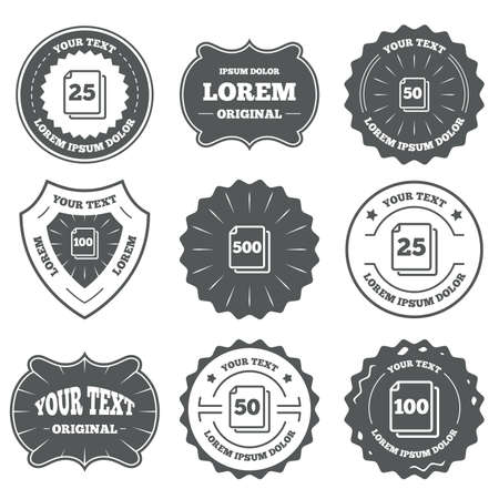 units: Vintage emblems, labels. In pack sheets icons. Quantity per package symbols. 25, 50, 100 and 500 paper units in the pack signs. Design elements. Vector