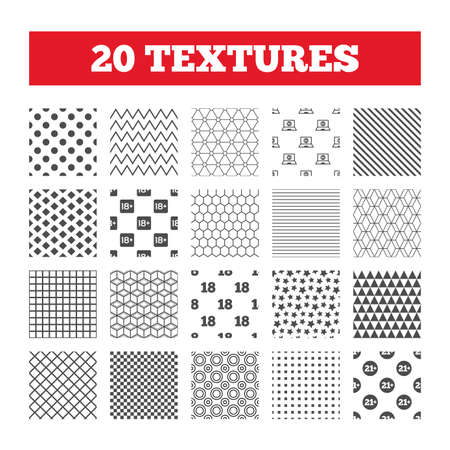 adult only: Seamless patterns. Endless textures. Adult content icons. Eighteen and twenty-one plus years sign symbols. Notebook website notice. Geometric tiles, rhombus. Vector Illustration